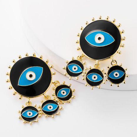 Alliage Drop Oil multicouches rondes oeil boucles d'oreilles femmes boucles d'oreilles vintage en gros mode NHJE179622's discount tags