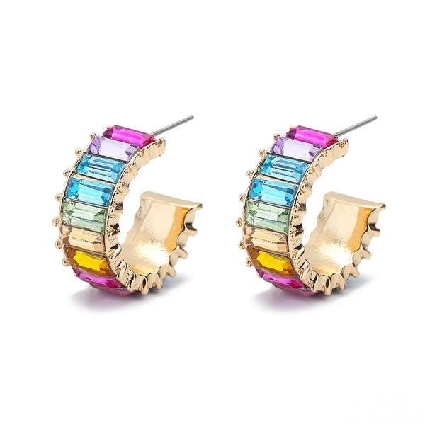 Earrings jewelry alloy geometric color T diamond crystal gemstone C female ear clip wholesales fashion NHLL179705