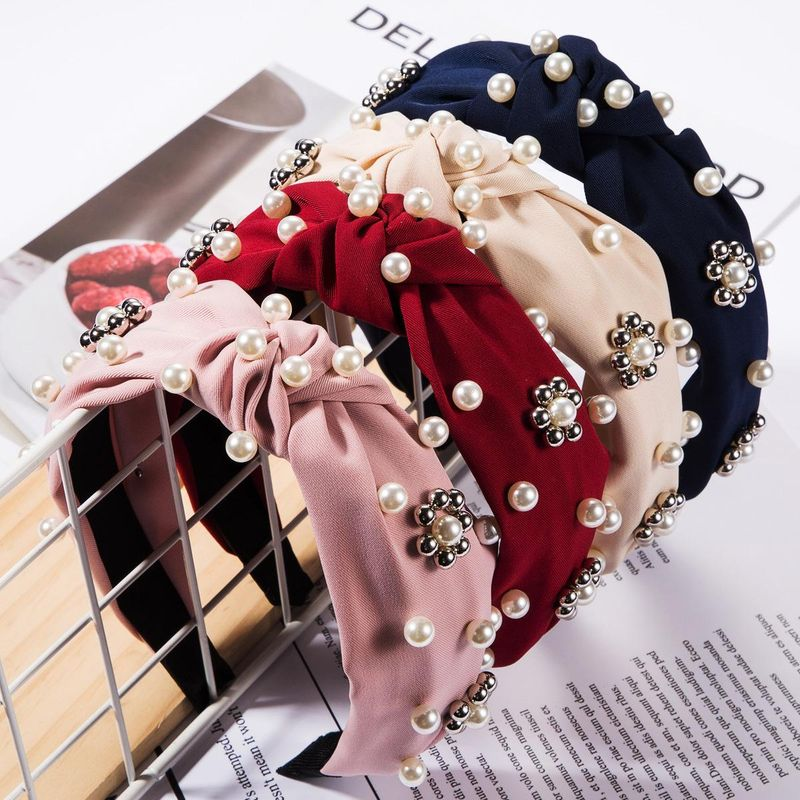 Fashion Solid Color Cloth Fabric Headband with Pearl Silver CCB Beads Floral Headwear NHJE179617