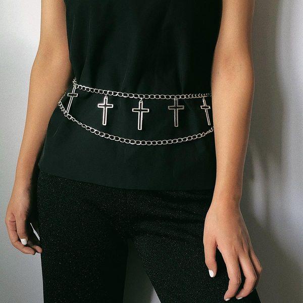 Geometric simple U-shaped body chain female cross multi-layer chain waist chain NHXR179650
