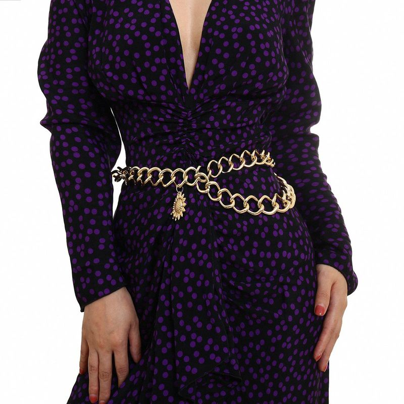 Thick chain body chain female tassel chain geometric sun flower pendant waist chain NHXR179651