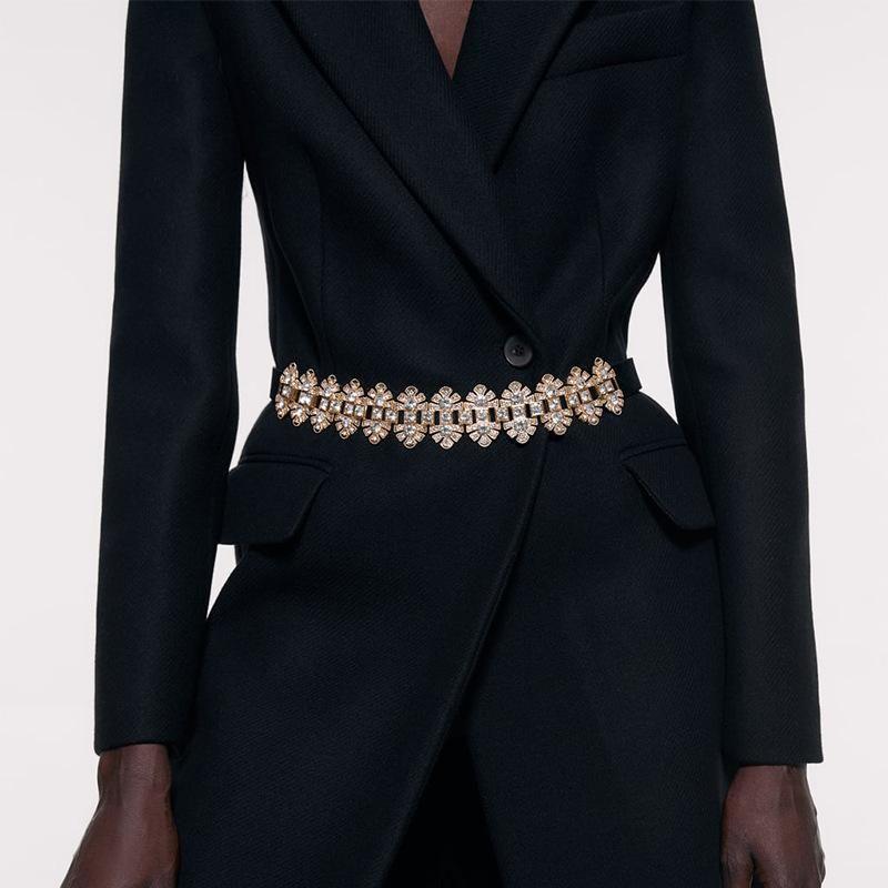 New alloy diamond leather belt simple clothing accessories temperament belt wholesale NHJQ179581