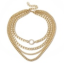 Jewelry retro geometric mix multilayer items female punk chain round microinlay necklace NHXR179658