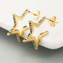 Stud earrings microinlaid zircon corners fivepointed star stud earrings fashion star earrings NHLN179623