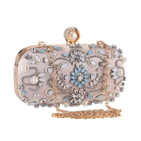 European and American new handmade beaded banquet bag with diamond clutch NHYG174710's discount tags