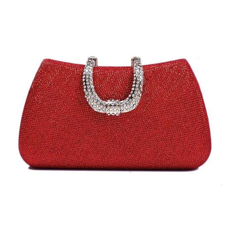 Hot-studded diamond evening party bag solid color clutch bag small square bag NHYG174728's discount tags