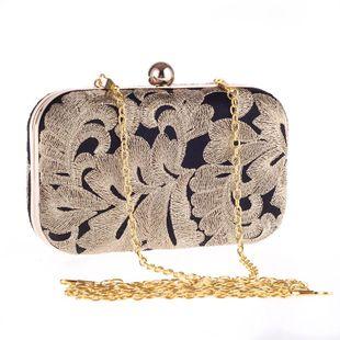 Bolso mujer línea dorada contraste color bolso de cena para mujer bolsa de vestido de noche de fiesta de concha dura NHYG174707's discount tags