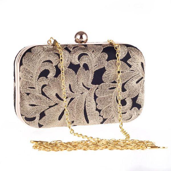 Bag female gold line contrast color women's dinner bag hard shell fashion party evening dress bag NHYG174707