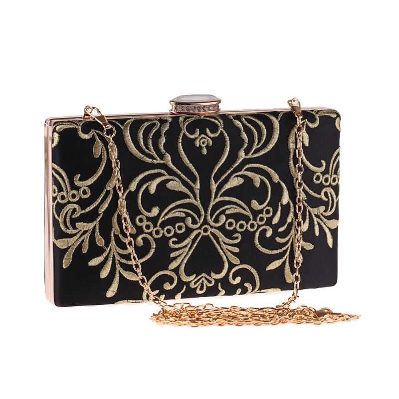 Embroidered evening party bag polyester craft small square bag women's hand dress dress handbag NHYG174715