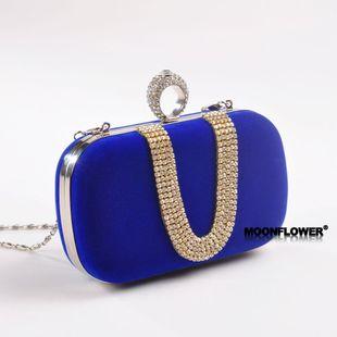 Bolso femenino bolso clásico de la fiesta de la tarde del dedo del diamante de la moda bolso de franela en forma de U NHYG174720's discount tags