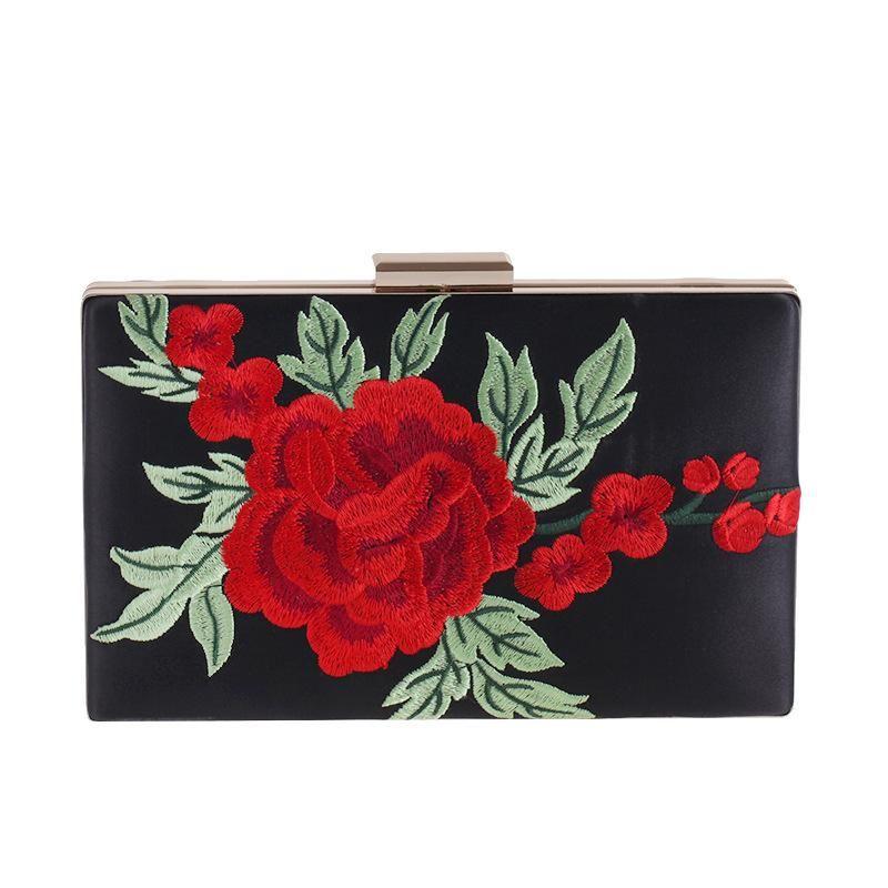 Rose Embroidered Bag Women's Flash Dinner Package Clutch Bag Dress Bag NHYG174721