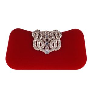 Bolso de terciopelo femenino bolso de noche corona rhinestone banquete bolso de embrague bolso cuadrado pequeño NHYG174732's discount tags