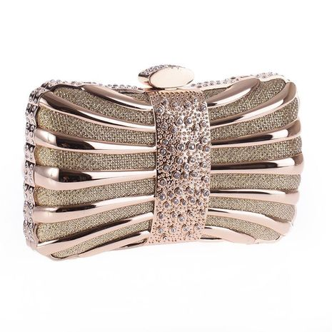 Alloy drill evening party bag small square chain handbag NHYG174741's discount tags