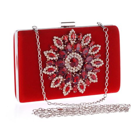 European and American fashion diamond-encrusted evening banquet hand velvet bridal bag NHYG174747's discount tags
