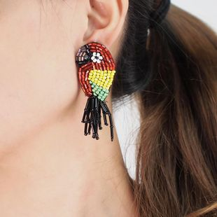 Hot cloth beige beads earrings female creative tassel animal bird earrings long handmade beaded earrings NHLN179959's discount tags