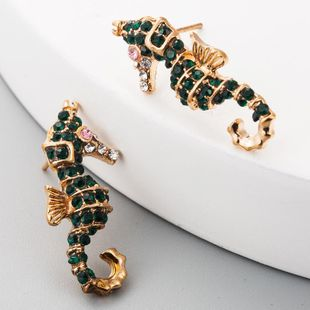 Fashion jewelry ladies retro rhinestone earrings small animal hippocampus alloy earrings NHLN179961's discount tags