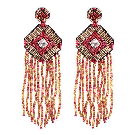 New earrings bohemian ethnic style handmade rice beads fashion long tassel earrings female NHMD179969's discount tags