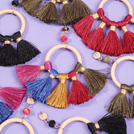 Fashion Jewelry Bohemian Ethnic Color Tassel Earrings Creative Geometric Round Earrings NHMD179970's discount tags