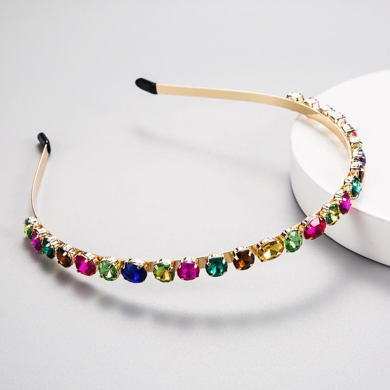 Alloy inlaid glass rhinestone color diamond headband super flash full drill hoop NHLN179966