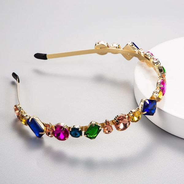 European and American fashion color Za wind headband female Korean version of the simple temperament wild inlaid colored glass alloy headband hairpin NHLN179968