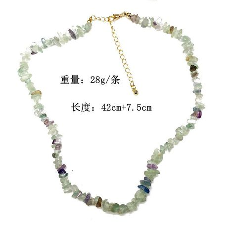 Natural gravel necklace mint color gravel short necklace chain foreign trade stone necklace gravel necklace NHOM179814's discount tags