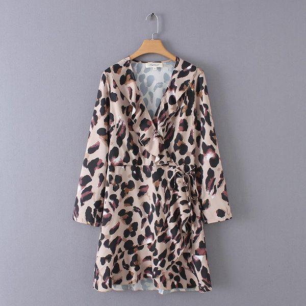 Wholesale printed v-neck cross strap slim dress NHAM179908