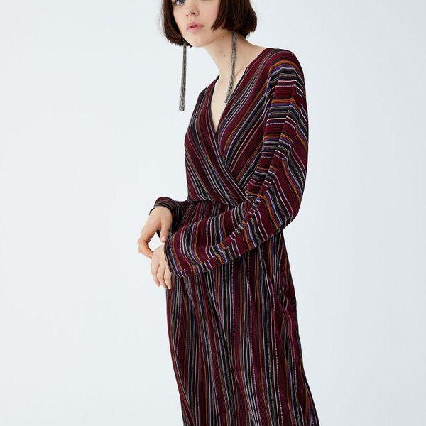 Wholesale striped pleated dress NHAM179909