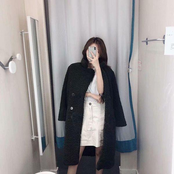 Wholesale new women's lapel long sleeve double-breasted fleece coat NHAM179934