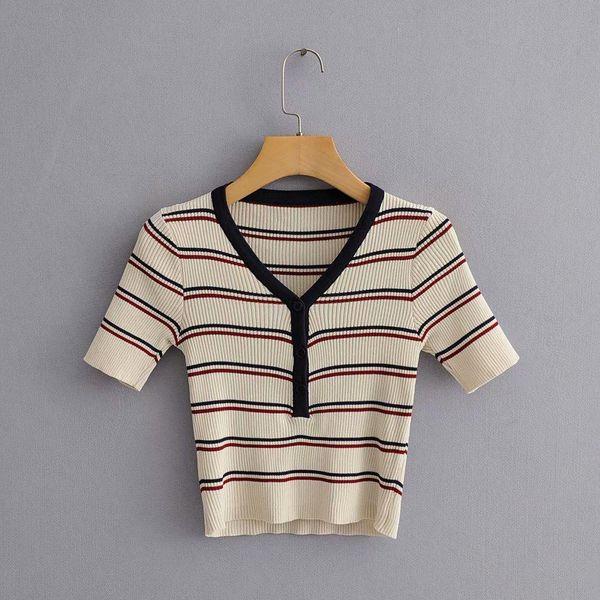 Wholesale striped short-sleeved high-waist women's sweater NHAM179913