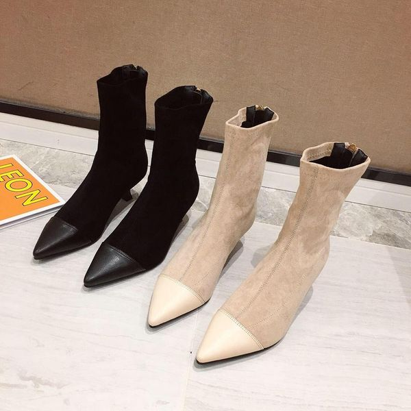 New pointed stiletto female Martin boots stitching elastic booties NHHU180035