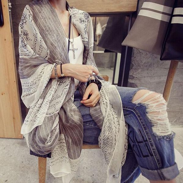 New chiffon printed scarves scarf seaside holiday sunscreen beach towel wholesales fashion NHTZ180008