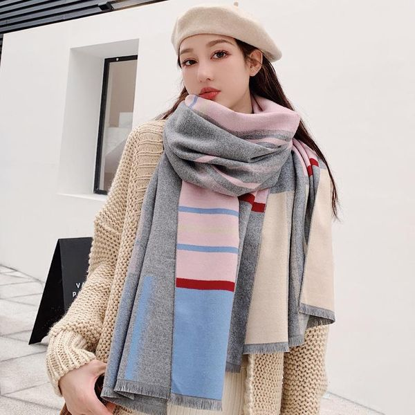 Scarf female new color matching thick long section imitation cashmere warm wild lady shawl NHTZ179981