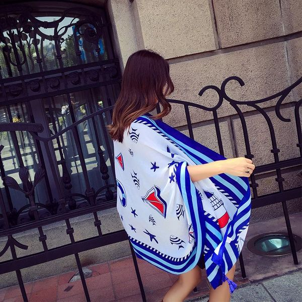 New cotton printed ladies scarf seaside sunscreen anti-mite silk scarf shawl wholesale NHTZ179984