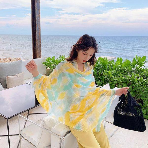 New sunscreen ladies silk scarf long paragraph wild diamond cotton linen scarf air conditioning shawl NHTZ179992