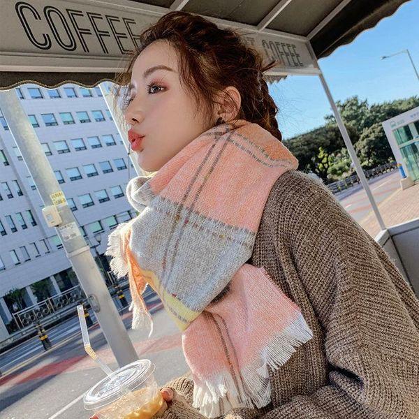 New scarf female warm print color shawl fashion sweet student imitation cashmere scarf NHTZ179994