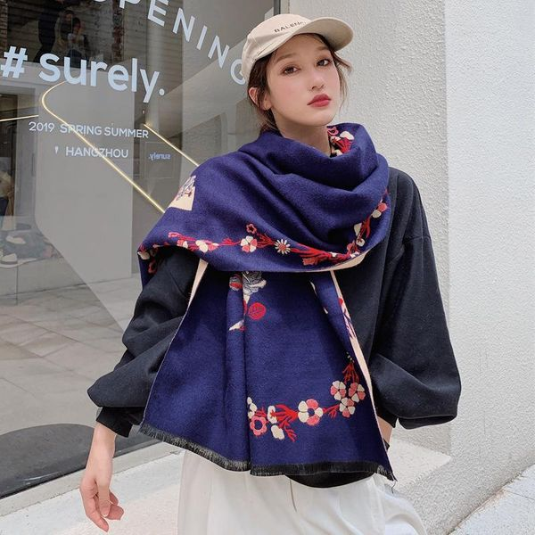 New imitation cashmere scarf female winter long section thick warm air conditioning shawl big cloak wholesale NHTZ180004