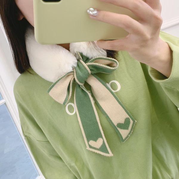 New love fur collar scarf female Korean version of the plush knitted scarf scarf winter warm thickening wild ladies NHMN180019