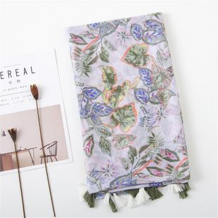 New cotton and linen scarf green leaves tassel scarf sunscreen big shawl NHGD180139's discount tags