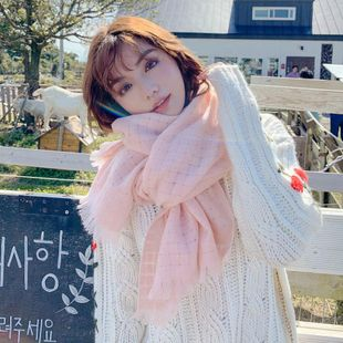 Hollow monochrome loose scarf female autumn and winter long section thick couple students warm wild wild wool collar NHMN180010's discount tags
