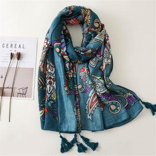 Silk scarf new super large beach towel shawl lake blue flowers totem cotton shawl scarf female NHGD180046's discount tags