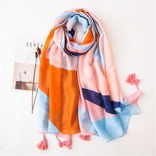 Winter navy blue powder spell simple and elegant scarf geometric mosaic shawl dual-use warm scarf NHGD180047's discount tags