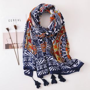 New retro sunscreen scarf geometric color matching scarf shawl NHGD180050's discount tags