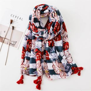 Scarf Women's Cotton Handle Scarf Contrast Color Flower Tassel Satin Beach Seaside Sunscreen Shawl NHGD180056's discount tags
