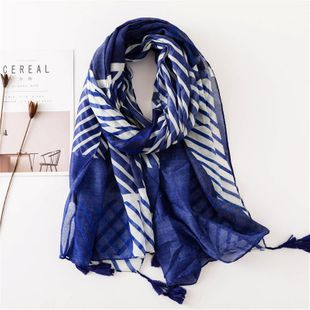 Cotton blue and white striped scarf ladies shawl dual-use students thick long silk NHGD180055's discount tags