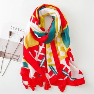Scarf female fashion red yellow blue geometric contrast color large shawl tourism dual-use sunscreen beach towel female NHGD180058's discount tags