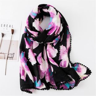Color Smudged Flowers Purple Scarf Four Sides Lace Hair Ball Lace Shawl Seaside Sunscreen Scarf NHGD180059's discount tags