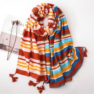 Striped color scarf female beach shawl cotton and linen silk scarf national wind scarf NHGD180061's discount tags