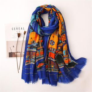 Burr cotton and linen scarves women's thin section shawl scarves travel scarf sunscreen beach towel NHGD180066's discount tags