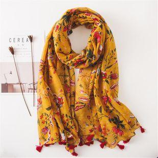 Scarf female turmeric flower print cotton sunscreen seaside shawl beach towel NHGD180069's discount tags