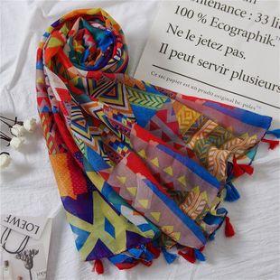 Vintage cotton and linen scarf fashion color geometric print beach towel shawl NHGD180071's discount tags